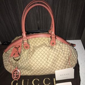 Auth. Gucci  Diamanté Sukey Satchel